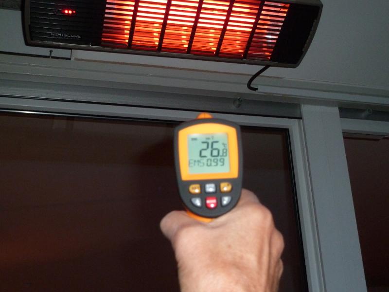 Test der Wärmeabgabe des Infrarot Heizstrahlers Phormalab Hotdoor 2000W